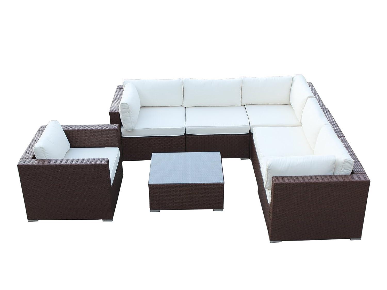 HOMHH California - Juego de 7 muebles de mimbre para patio ...