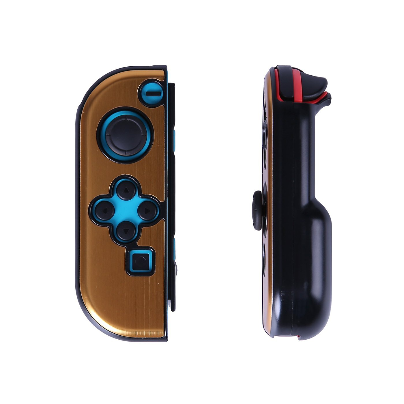 HDE Protective Cover for Nintendo Switch Joy-Con Controller Plastic Protectors Snap On Shell with Comfort Contoured Back (Gold)