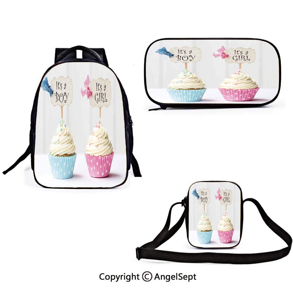 Backpack for Teens Gender Reveal Boy and Girl with Cupcakes Yummy Chocolate Celebration Theme Pale Blue and Pink Cream Travel Daypack Rucksack with er Bag and Pencil Case by RWNFA