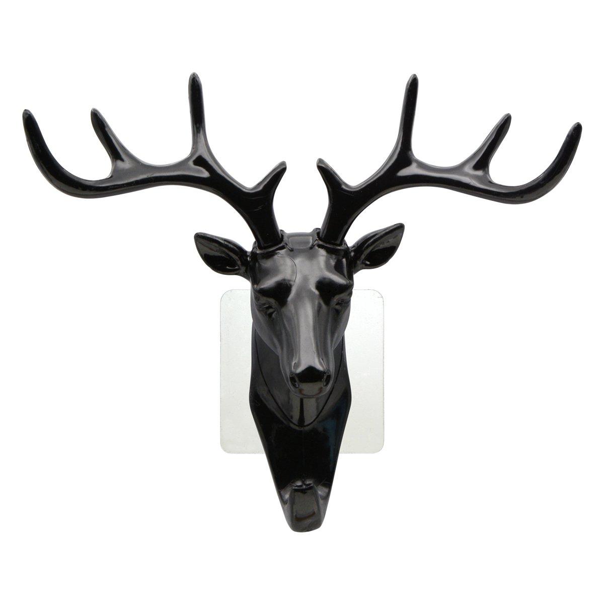 Saim Creative Plastic Hooks Wall Decor Deer Head Animal Self Clothing Jewelry Display Racks Non Black 3Pcs Streaking Coat Cap Bag Keys Hanger Hook