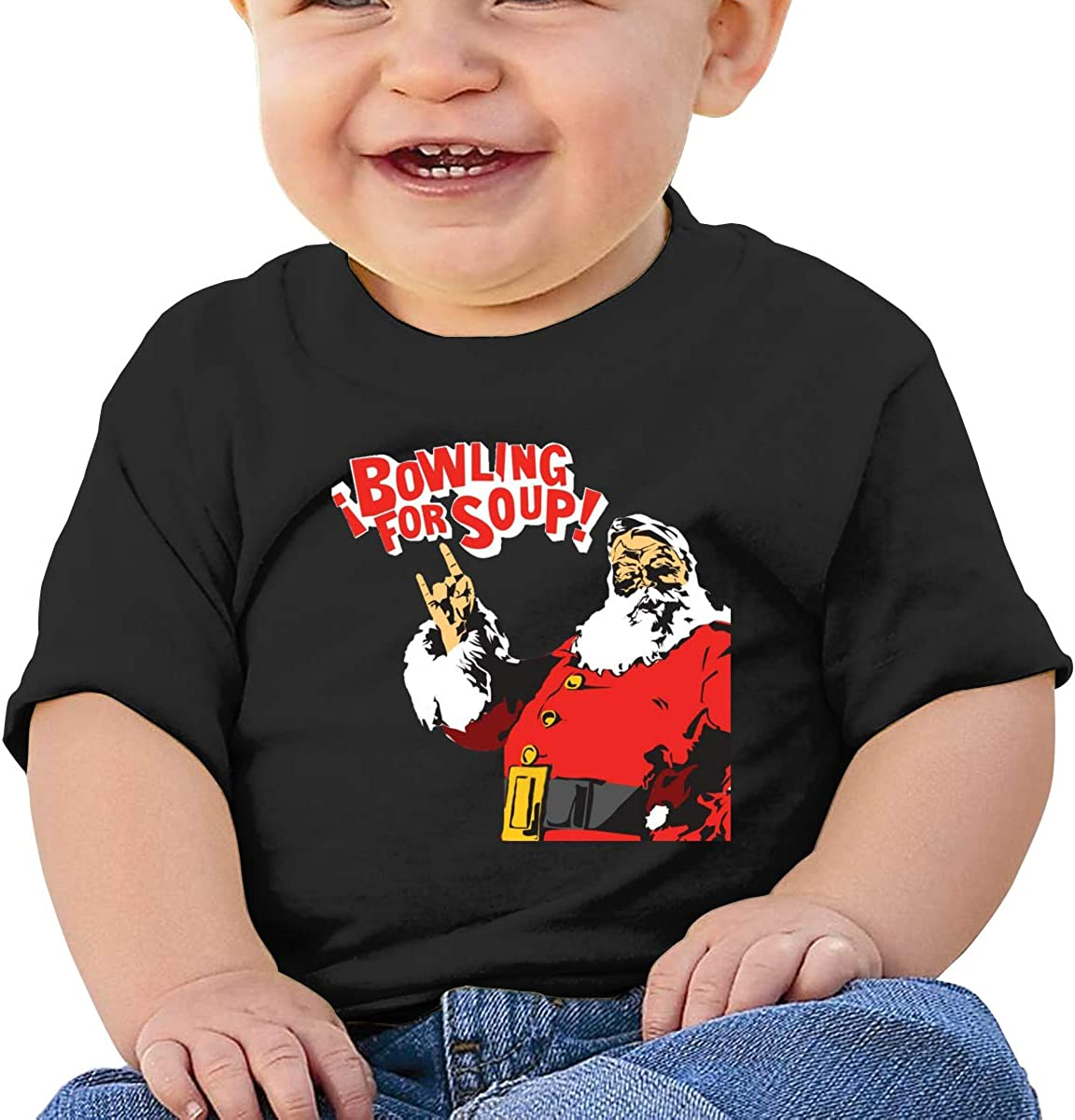 Wokeyia Baby Bowling for Soup Merry Christmas Black Tshirts Breathable T-Shirt for Infant