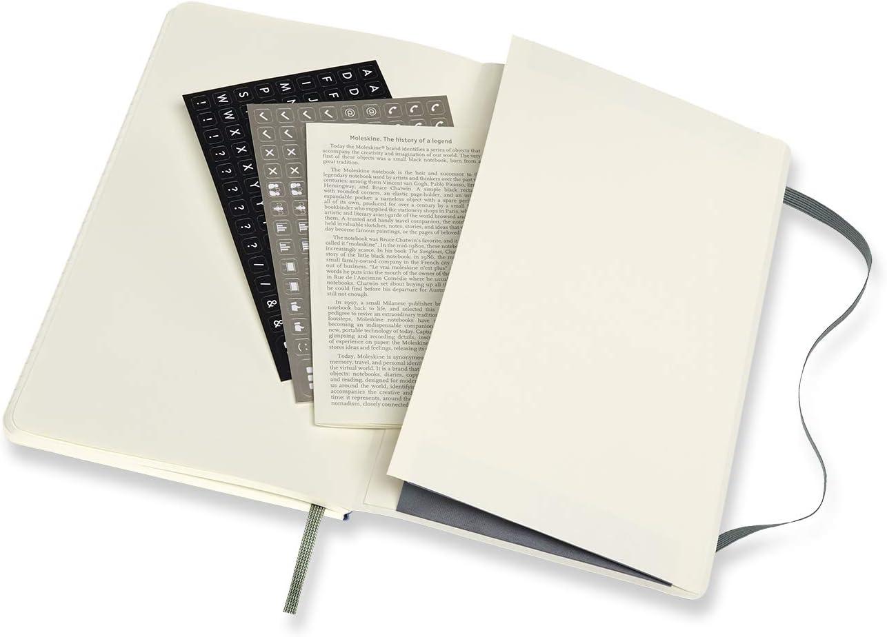 Bloc-Notes Professionnel Bloc-Notes pour le Travail Couverture Souple et Fermeture Elastique Moleskine Couleur Noir 192 Pages Format Extra Large 19 x 25 de Bureau