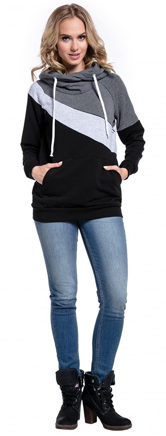 Happy Mama Womens Nursing Hoodie Breastfeeding Top Colour Block Maternity 321p