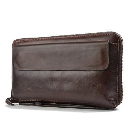 Gendi hombres de negocios billetera Vintage Brown zurriago hombres bolso de embrague 100% cuero genuino embrague bolsa de mano doble zipper monedero para ...