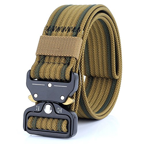 (Tactical Belt for Men and Women, Military Style Nylon Webbing with Heavy-Duty Quick-Release Metal Buckle, 49 Inch Adjustable Waist Belt (coyote))