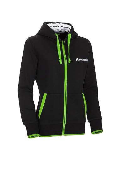 Kawasaki – Sudadera con capucha – Sudadera con capucha y cremallera para mujer Kawasaki Girl - Para mujer negro y verde negro negro XX-Large/XXX-Large: ...