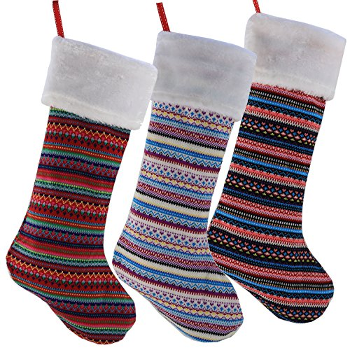 Wewill – Juego de 3 calcetines de Navidad de punto a rayas hechos a mano para decoración de fiesta, 43 cm