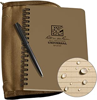 "product image for Rite in the Rain Weatherproof Side Spiral Kit: Tan CORDURA Fabric Cover, 4 5/8"" x 7"" Tan Notebook, and Weatherproof Pen (No. 973T-KIT)"