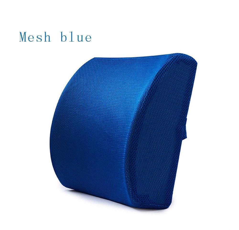 Feiw 低反発素材 腰部サポートバッククッション 3Dメッシュカバー付き バランスのとれた硬さ 腰痛緩和 オフィスチェアとカーシートに最適なバックピロー ブルー B07HQGCN99 ブルー