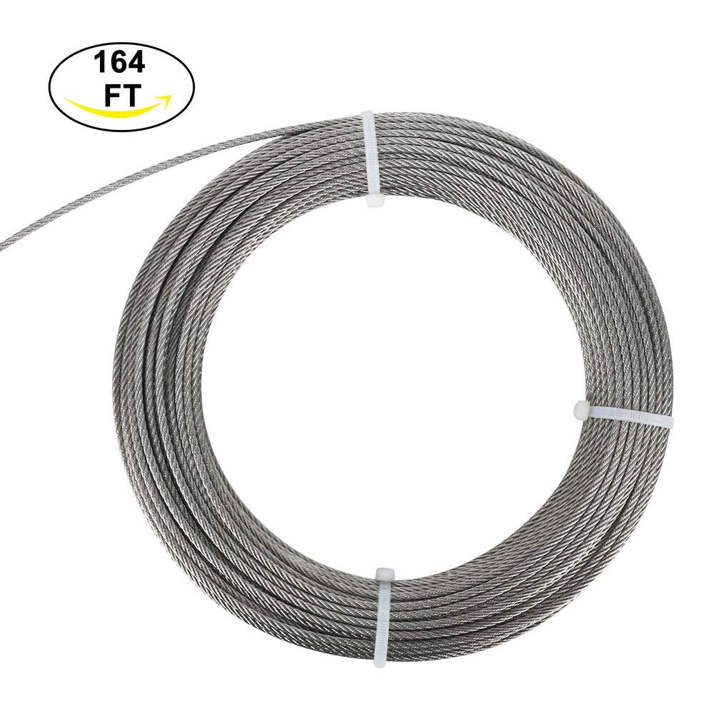 (164' 1/8'' 7x7) Wire Rope Cable - Marine Grade Stainless Cable Wire Rope