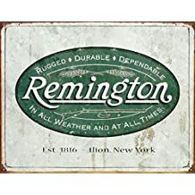 Remington Guns Rifles Hunting In All Weather Logo Distressed Retro Vintage Tin Sign - 13x16