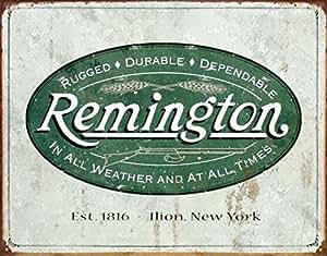 (13x16) Remington Guns Rifles Hunting In All Weather Logo Distressed Retro Vintage Tin Sign , 16x12
