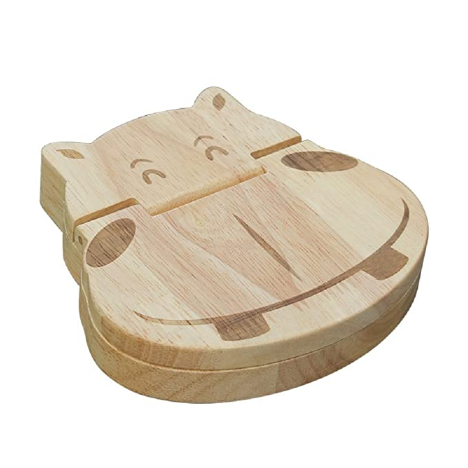 Amazon.com: MMOO Lovely Wooden Houses Personalized Baby Teeth Deciduous Souvenir Box (Hippo): Kitchen & Dining