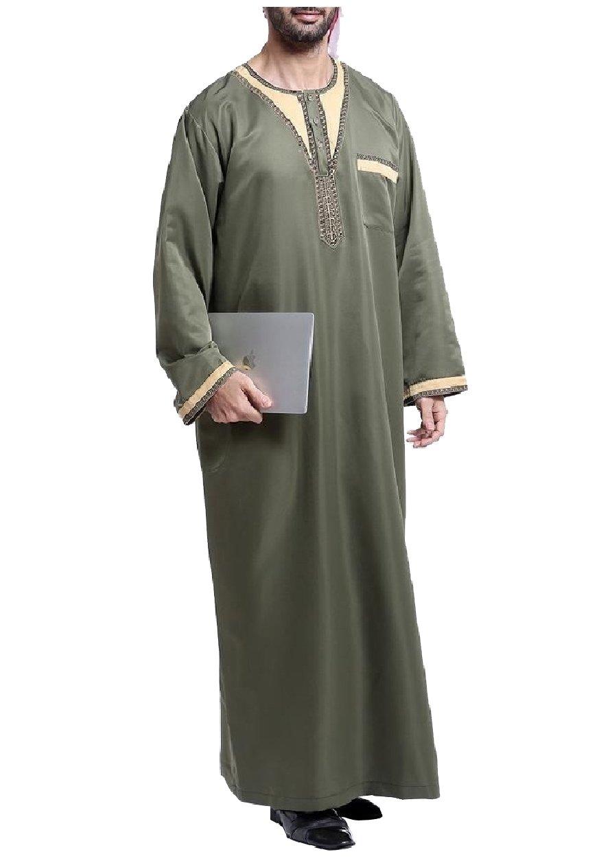 Winwinus Men Middle East Splice Traditional Islamic Arab Muslim Thobe Army Green 2XL
