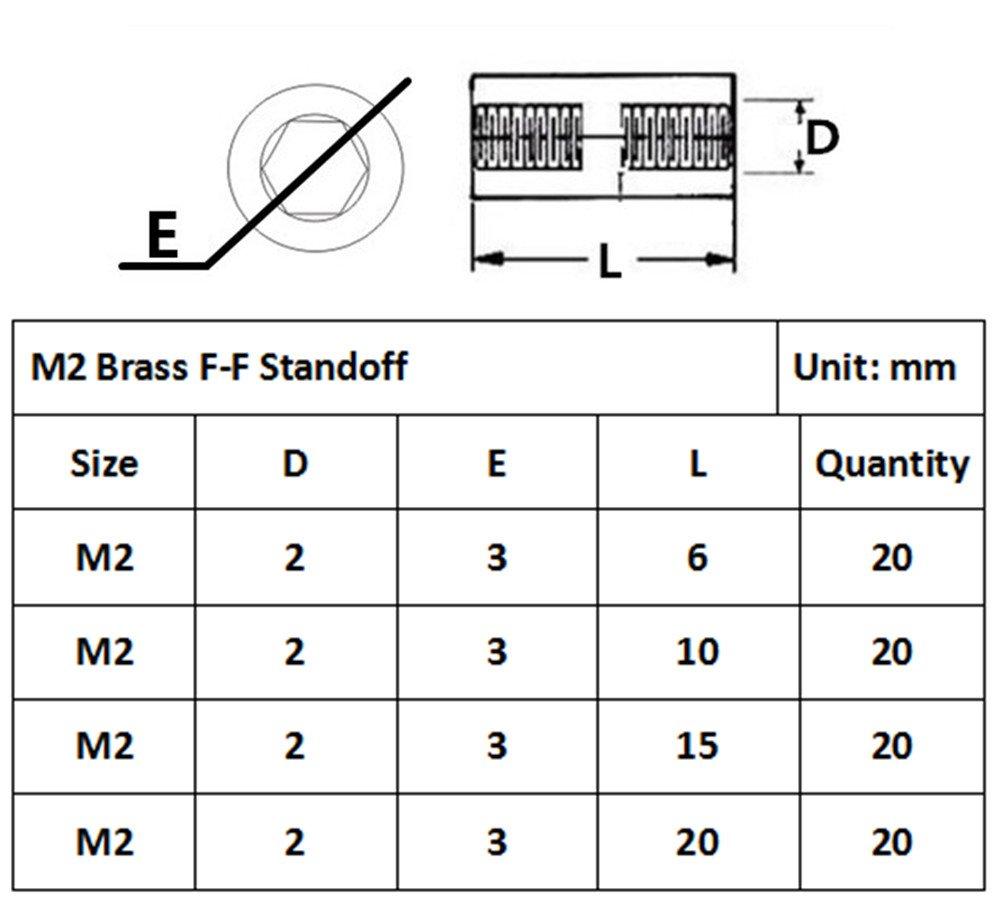 Guard4U 320pcs M2 Male-Female Brass Spacer Standoff/&Stainless Steel Screw Nut Assortment Kit