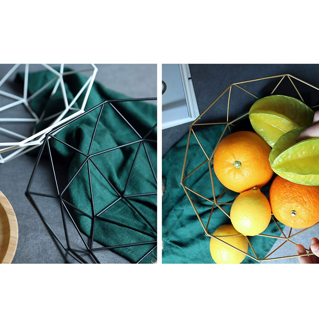 Cesta de Fruta para Sala de Estar, Cesta Simple Creativa del Almacenamiento de la Fruta secada del bocado del Caramelo del Hierro labrado,Cuenco de Drenaje ...