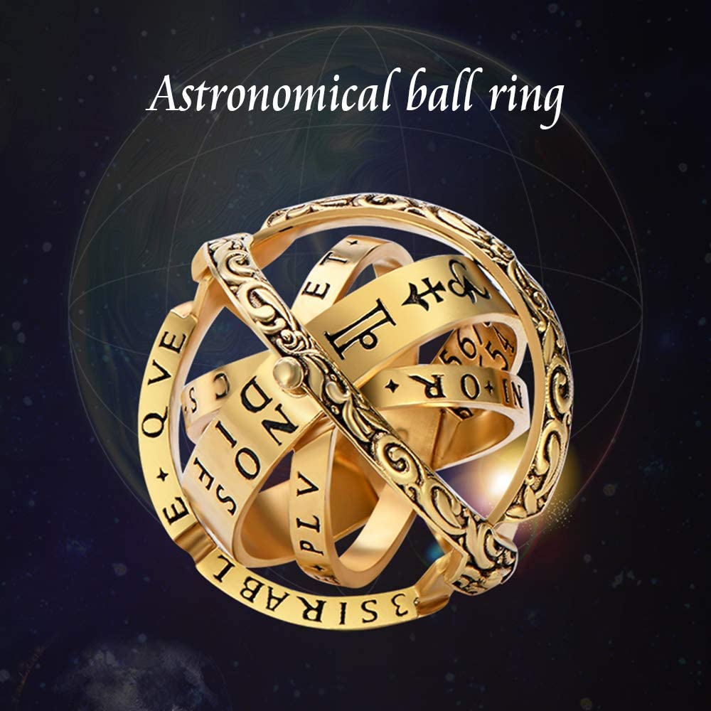 Luxury Hand-Carved,Copper XIANGMENG Copper Gold Plated Astronomical Finger Foldable Ring That Folds Out to an Astronomical Sphere Ring Close is Love,Open is The World,Best Gift for Lover