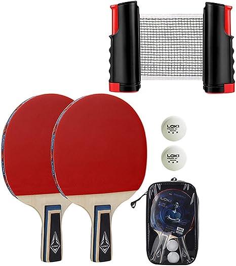 WEIZI Juego de Raquetas y Pelotas de Tenis de Mesa Juego de Tenis de Mesa portátil