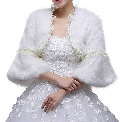 Mantón Bufanda Abrigo de invierno cálido abrigo de las mujeres blanco nupcial de manga larga abrigo
