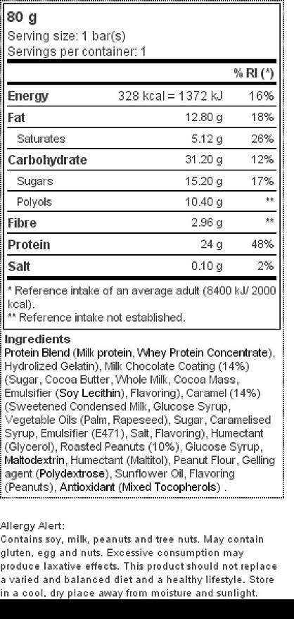 Xcore Xtracore Barrita Proteínica 80g - Snack de Chocolate-Cacahuete-Caramelo, Fomenta el Crecimiento y la Recuperación Muscular, 30% de Proteína: ...
