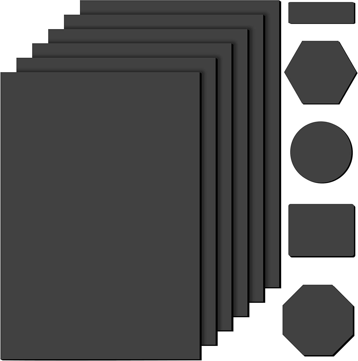 6 Pieces Self-Stick Rubber Non Slip Pads Black Furniture Grippers Furniture and Floor Protectors for Furniture Protection Stoppers, 6 x 4 Inches