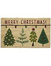 """DII Indoor/Outdoor Natural Coir Easy Clean Rubber Back Entry Way Doormat For Patio, Front Door, All Weather Exterior Doors, 18 x 30"""" - Merry Christmas"""