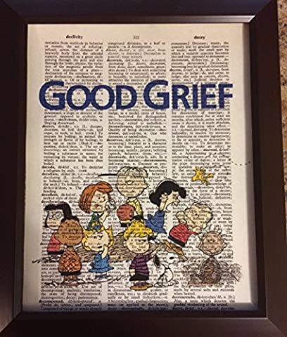 Good Grief Charlie Brown Peanuts Cartoon Dictionary Book Page Artwork Print Picture Poster Home Office Bedroom Wall (Mario Bedroom Decor Furniture)