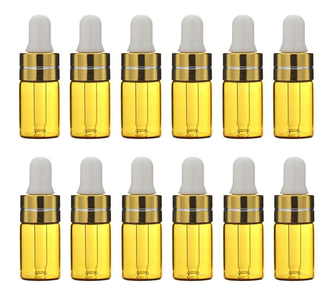 12PCS 3ML Refill Glass Essential Oil Dropper Bottles Makeup Cosmetic Sample Container Jar Pot with Eye Glass Dropper Aromatherapy Perfume Sample Attar Vials DIY Beauty Tools(Transparent) Upstore
