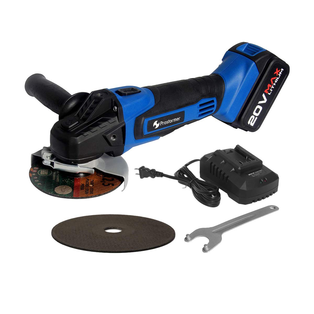 Prostormer 20V Max Cordless 4-1/2'' Angle Grinder with 3-Position Adjustable Auxiliary Handle, 1 x Cutting Wheel, 1 x Grinding Wheel, 4.0Ah Lithium-ion Battery and Fast Charger Included