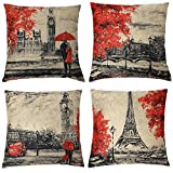 Kate 4 Packs Throw Pillow Covers 18 x 18 Inches Black & Red Color Eiffel Tower & Big Ben Pillow Case Decorative Cushion Cover for Soft, Home, Bedroom, Indoor or Out Door Pillowcase(Set of 4)
