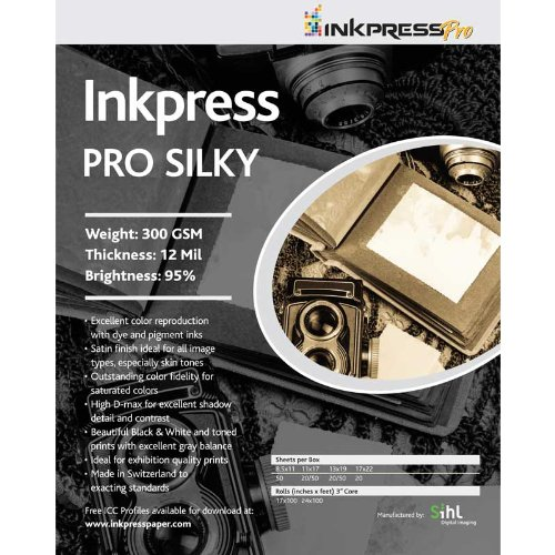 Inkpress Pro P3 Professional Pro Silky, Bright White Single Sided Inkjet Paper,300gsm, 12mil, 11x17