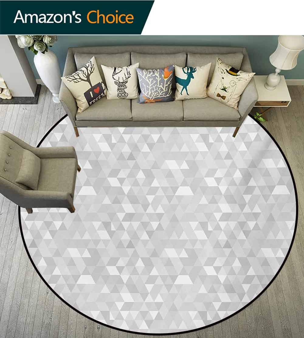 RUGSMAT Grey and White Super Soft Circle Rugs for Girls,Pattern with Triangles Mosaic Geometrical Hipster Low Poly Effect Baby Room Decor Round Carpets,Round-59 Inch Pale Grey and White