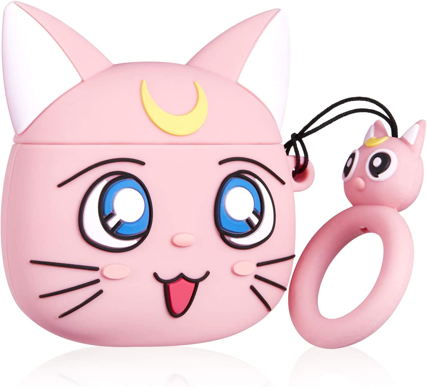 Jowhep Case for AirPod 2/1 Cartoon Design Cute Silicone Cover with Keychain Fashion Funny Shockproof Soft Protective Skin for Air Pods Girls Kids Kawaii Food Shell Cases for AirPods 1/2 Pink Luna Cat