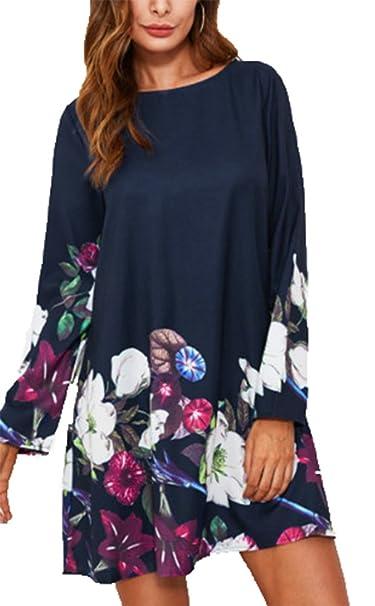 41b97e3a0092 Vestido Estampado de Flores para Mujer, Camisas largas Cuello ...