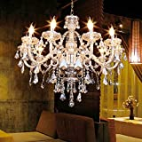 TryESeller Luxurious 10 Arm Chandelier K9 Crystal Glass Ceiling Light Pendant Lamp Cognac Color for Living Room Bedroom Hallway E