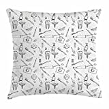 Ambesonne Doodle Throw Pillow Cushion Cover, Hand Drawn Style Medical Pattern with Dental Hygiene Theme Teeth Care Cleaning, Decorative Square Accent Pillow Case, 26 X 26 Inches, Black and White