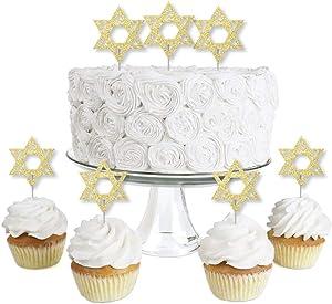 Gold Glitter Star of David - No-Mess Real Gold Glitter Dessert Cupcake Toppers - Hanukkah Clear Treat Picks - Set of 24