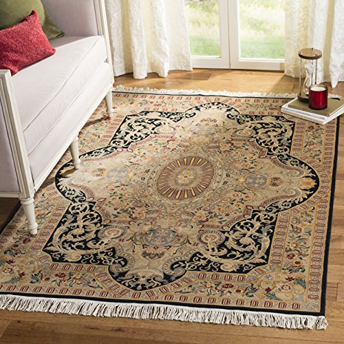 (Safavieh Royal Kerman Collection RK16A Hand-Knotted Black and Ivory Wool Area Rug (6' x 9'))