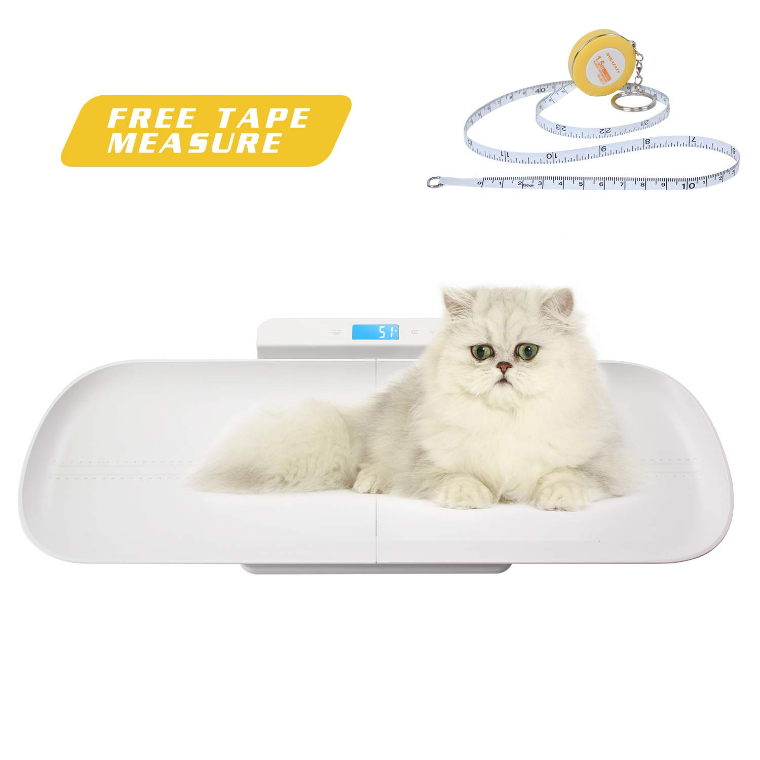 BYKAZATY Pet Scale with Tape Measure, Multi-Function Baby Scale, Infant Scale Digital Weight with Height Tray(Max: 70cm), Measure Weight Accurately(Max: 220lb), Perfect for Toddler/Puppy/Cat/Dog/Adult by BYKAZATY (Image #1)
