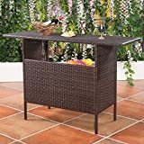 Giantex Outdoor Patio Rattan Wicker Bar Counter Table with 2 Steel Shelves, 2 Sets of Rails Garden Patio Furniture, Brown Review