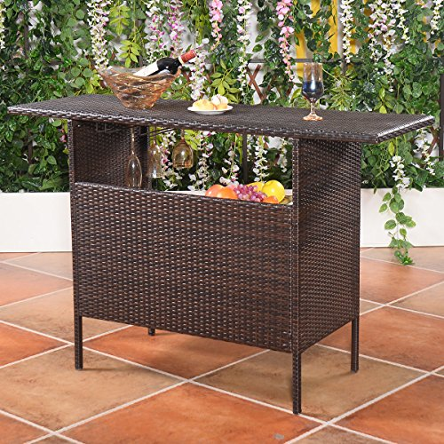 Giantex Outdoor Patio Rattan Wicker Bar Counter Table with 2 Steel Shelves 2 Sets of Rails Garden Patio Furniture Brown