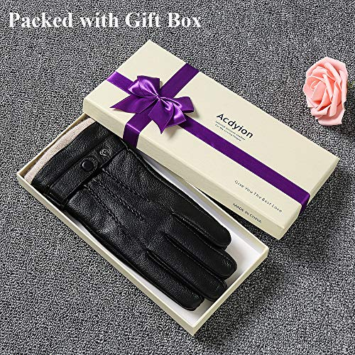 Mens Genuine Leather Gloves Winter  Acdyion Touchscreen CashmereWool Lined Warm Dress Driving Gloves