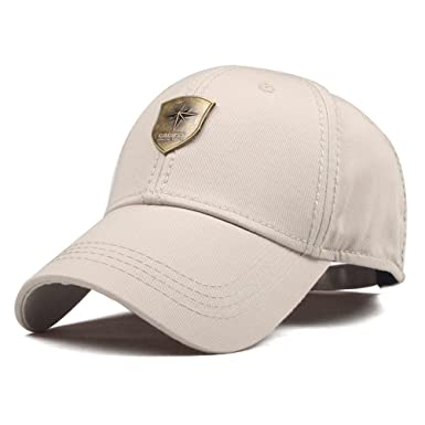 CACUSS Men s Sailing Style Cotton Structured Baseball Cap Adjustable Buckle  Closure Sports Golf Hat (B0083 Beige 38bf4a4fd115
