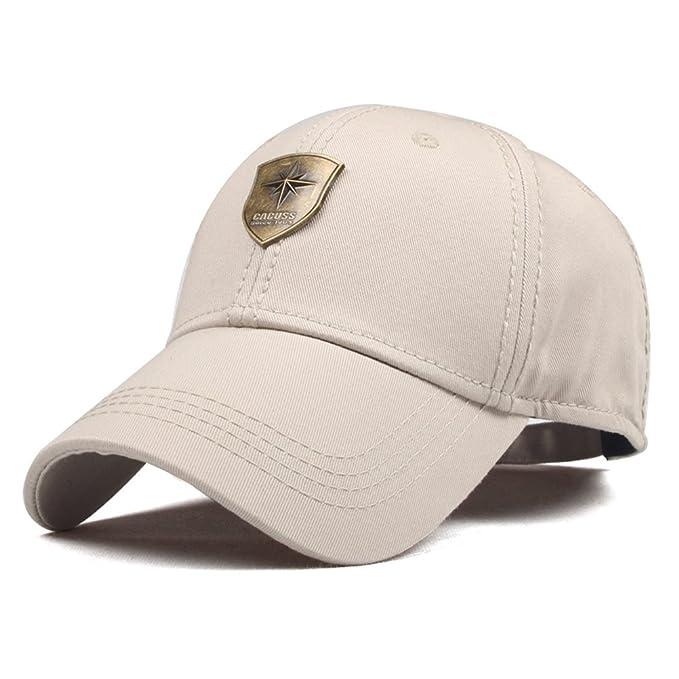CACUSS Men s Sailing Style Cotton Structured Baseball Cap Adjustable Buckle  Closure Sports Golf Hat (Beige a6f7fc8d026