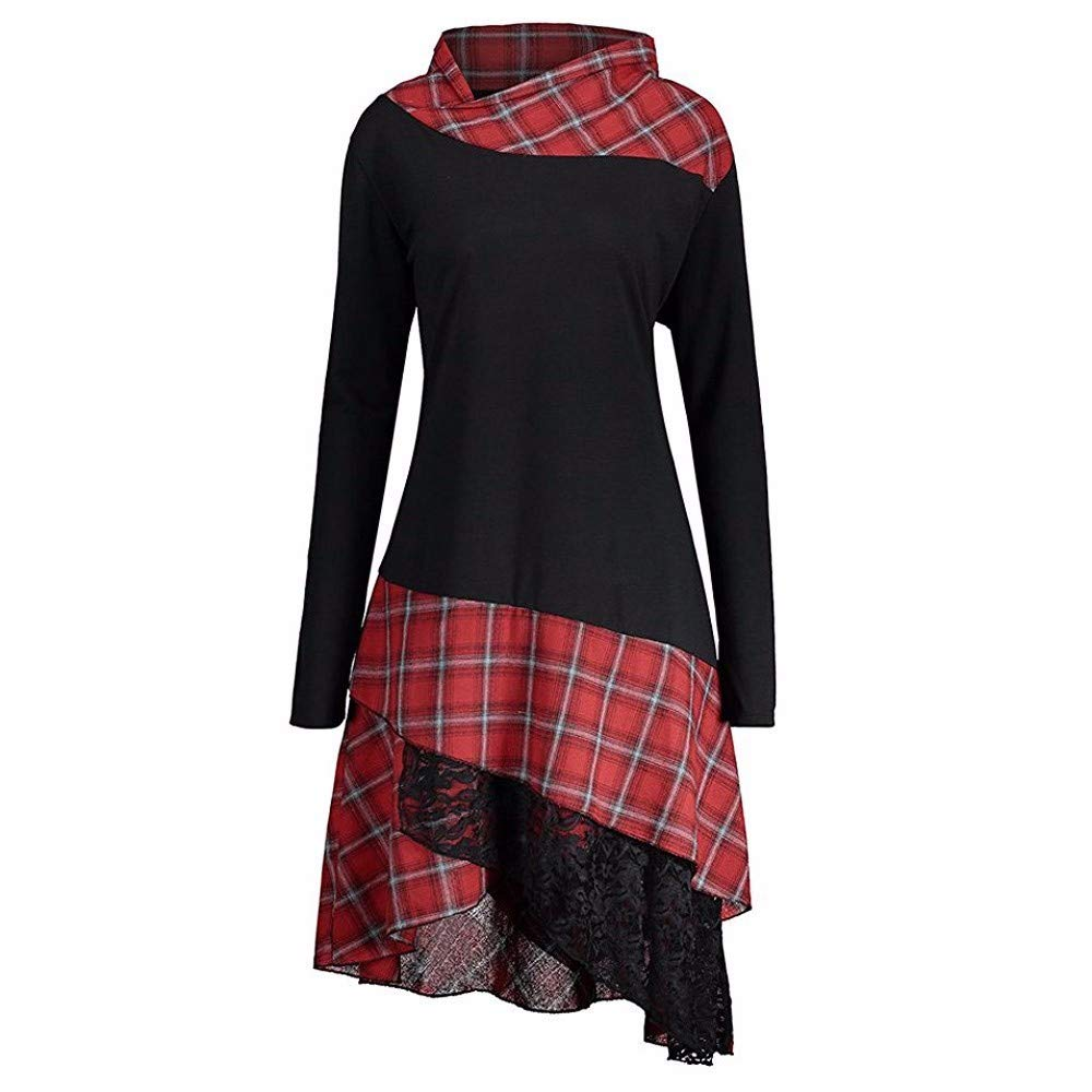 FIRSS Frauen Kariertes Patchwork Stehkragen Spitze Minikleid Warm Sweatshirt Lange Elegant Vintage Spitze Asymmetrisch Lange Casual Abendkleider