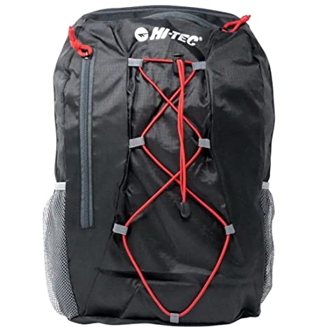 Hi-Tec 2018 Packable Travel Backpack 24L Sports Training Rucksack Black Red  Small b8037ca982fe2