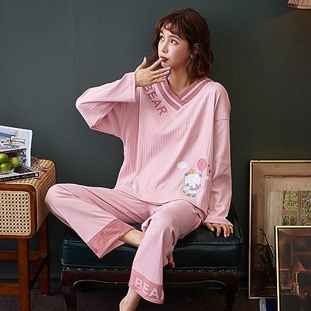 Cálidos Pijamas para Mujer,Ropa De Dormir De Algodón Rosa con ...