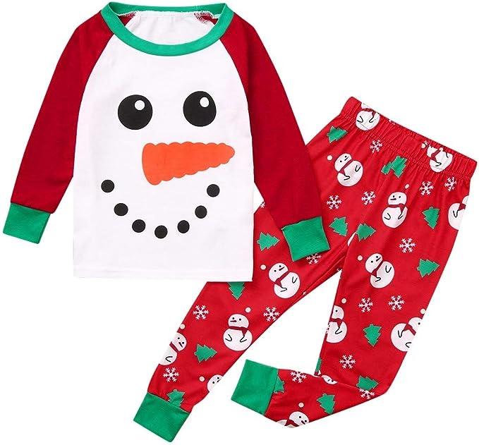 New Kids Snowman Christmas Pajamas Sets Sleepwear Long T Shirt Nightgown Clothes