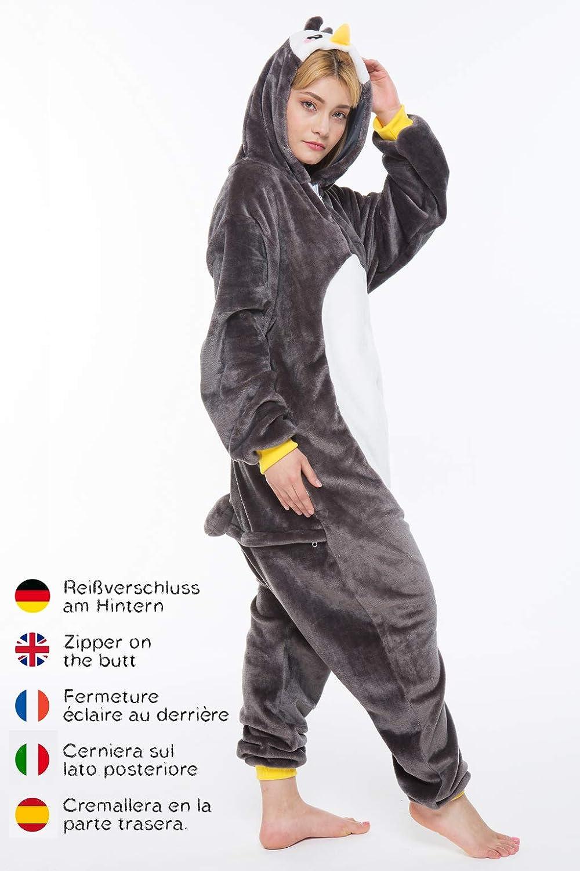 corimori- Pablo el Pingüino Pijamas Animal Traje de Una Pieza Disfraz Adultos Invierno, Color negro, Talla 180-190 cm (1852)