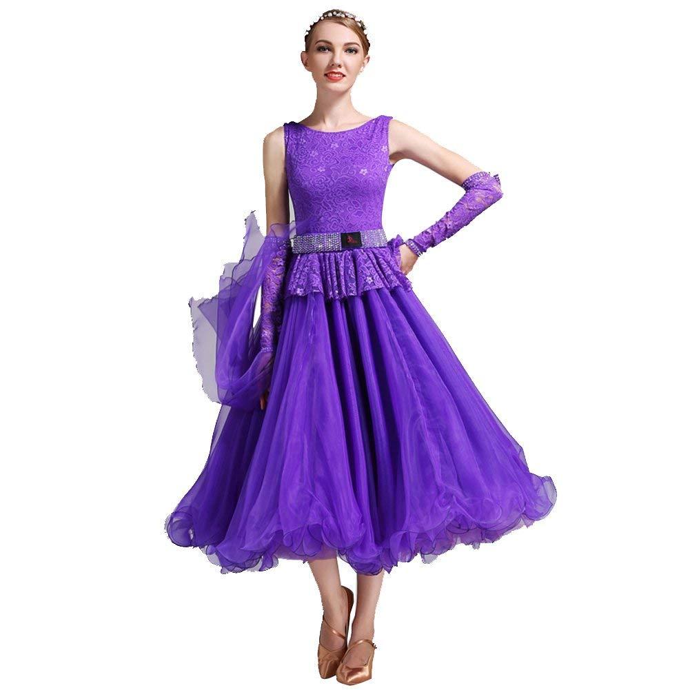 モダンなWalzer Tangoダンスレースロータスリーフサイドパフォーマンスボールルーム 紫の Large